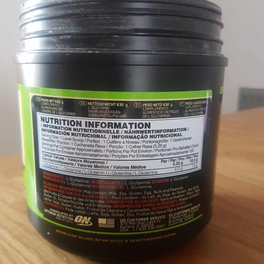 on glutamine powder ingredients