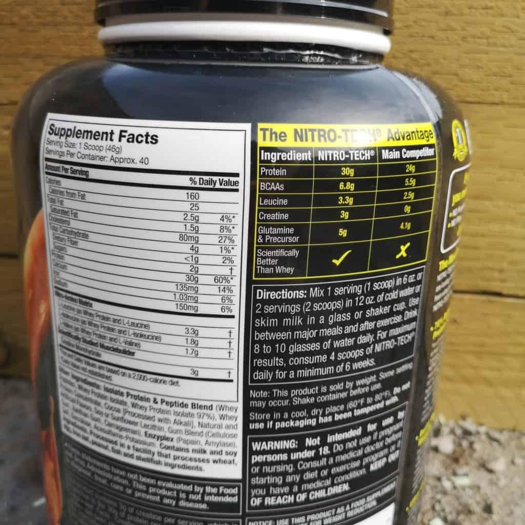 muscletech nitro tech ingredients