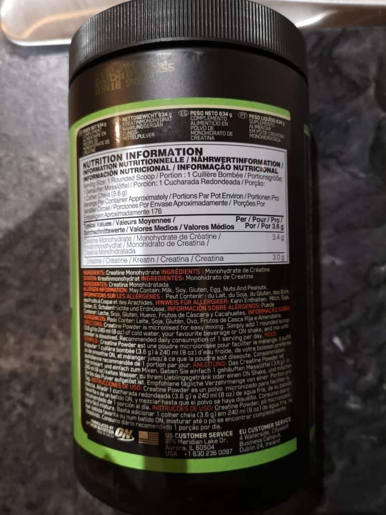 on micronized creatine ingredients